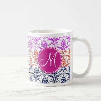 Monogram Elegant Rainbow Colorful Damask Fading Co Basic White Mug