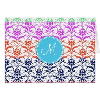 Monogram Elegant Rainbow Colorful Damask Fading Co Note Card
