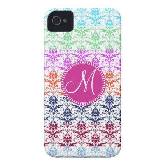 Monogram Elegant Rainbow Colorful Damask Fading Co iPhone 4 Case-Mate Case