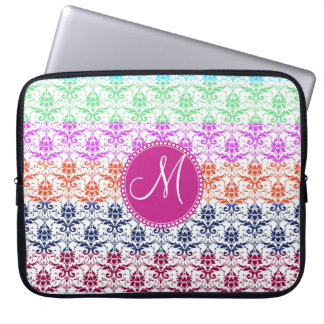 Monogram Elegant Rainbow Colorful Damask Fading Co Laptop Sleeve