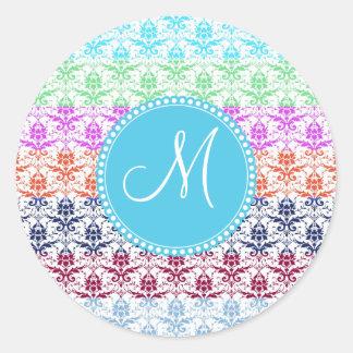 Monogram Elegant Rainbow Colorful Damask Fading Co Round Sticker