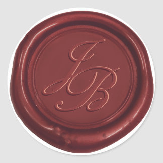 Monogram Elegant Script Red Wax Seal Wedding