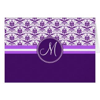 Monogram Elegant Vintage Purple and White Damask Note Card
