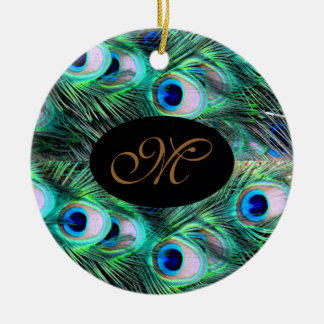Monogram Elegant Xmas Holiday Peacock Wedding Christmas Ornament