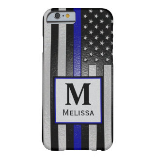 Monogram Embossed Thin Blue Line Flag Barely There iPhone 6 Case