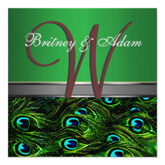 Monogram Emerald Green Peacock Wedding Invitations