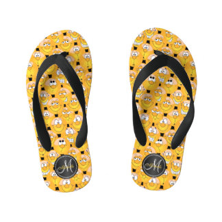 Monogram - Emoji Design Funny Yellow Faces Kid's Flip Flops
