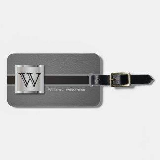 Monogram Executive Gray Leather Style Luggage Tag
