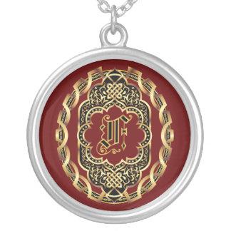 Monogram F Customize Edit Change Background Color Round Pendant Necklace