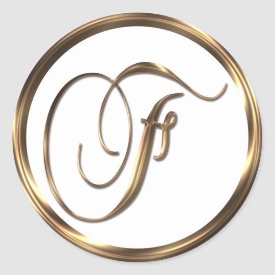 Monogram F Faux Bronze Classic Round Sticker