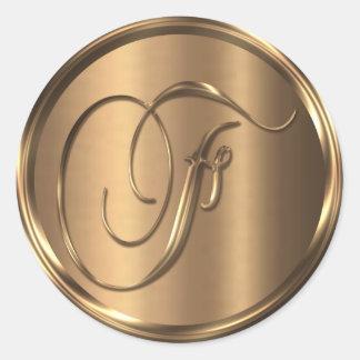 Monogram F NONMETALLIC Bronze Envelope Seal Round Sticker