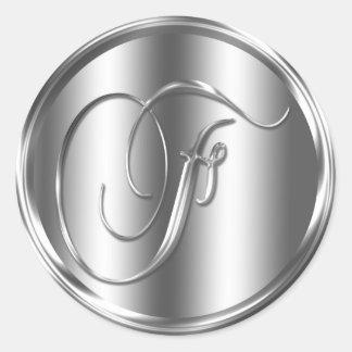 Monogram F Silver Color Round Sticker