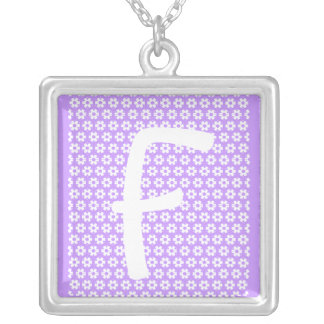 Monogram F Square Pendant Necklace