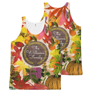 Monogram Fall Autumn Leaves Collage Vintage Wood All-Over Print Tank Top