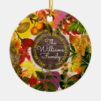 Monogram Fall Autumn Leaves Collage Vintage Wood Christmas Ornament