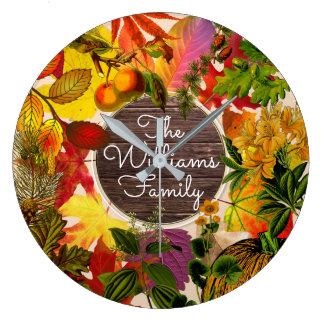 Monogram Fall Autumn Leaves Collage Vintage Wood Large Clock