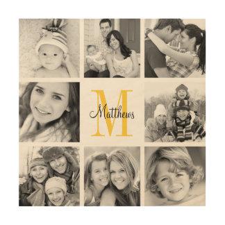 Monogram Family Photo Collage Art Print on Wood