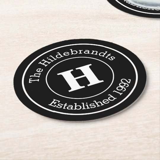 Monogram Family Surname Mod BW Personalised Round Paper