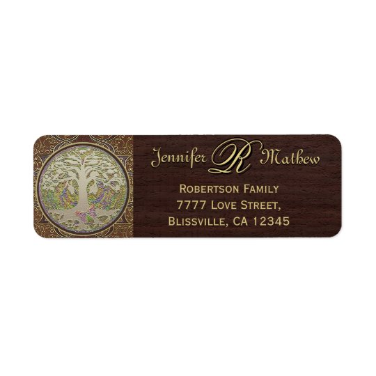Monogram Family Tree Return Address Label