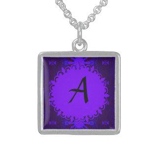 Monogram Fancy Dark Purple Blue Abstract Pendants