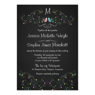 Monogram Fancy Doodle Lovebirds Chalkboard 13 Cm X 18 Cm Invitation Card