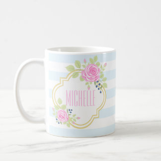 Monogram Fancy Pink Roses Blueberry Classic Mug