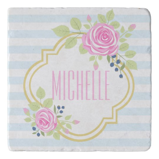 Monogram Fancy Pink Roses Blueberry Marble Trivet