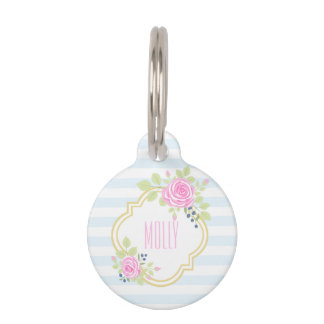 Monogram Fancy Pink Roses Blueberry Pet Tag