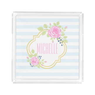 Monogram Fancy Pink Roses Blueberry Square Tray