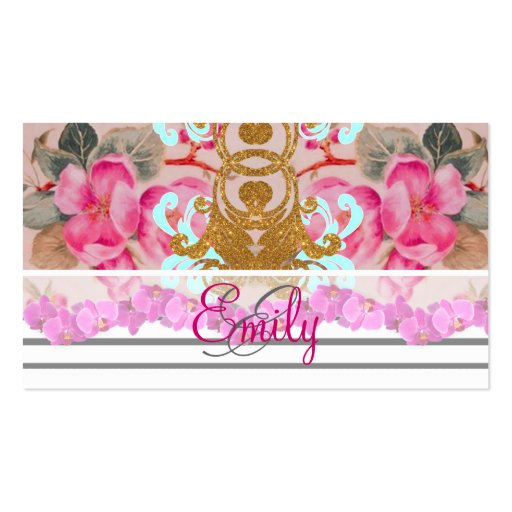 Monogram Fashion Girly Pink Floral Trendy Stripes Business Card