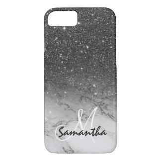 Monogram faux black glitter ombre white marble iPhone 7 case