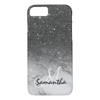 Monogram faux black glitter ombre white marble iPhone 8/7 case