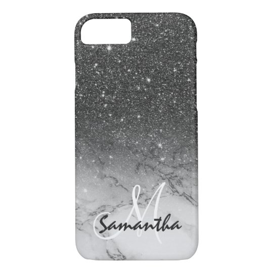 Monogram faux black glitter ombre white marble iPhone