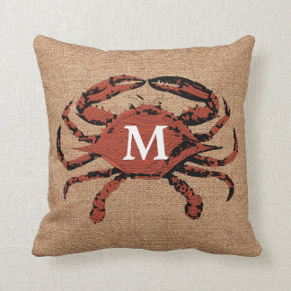 Monogram Faux Burlap Nautical Crab | Unique Pillow