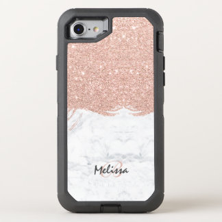 Monogram faux glitter rose gold brushstroke marble OtterBox defender iPhone 8/7 case