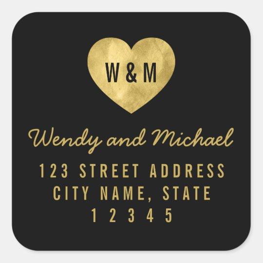 Monogram Faux Gold Heart Wedding Return Address Square