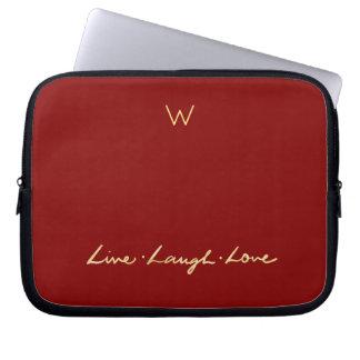 Monogram Faux Gold Script Live Laugh Love Laptop Sleeve