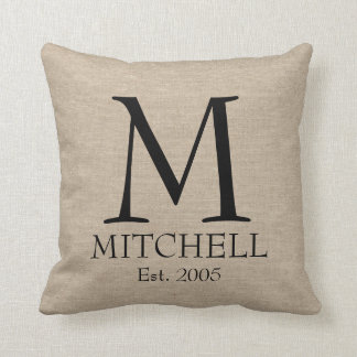 Monogram faux linen burlap rustic chic initial jut cushions