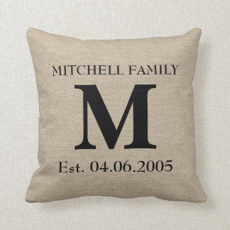 Monogram faux linen burlap rustic initial wedding cushion