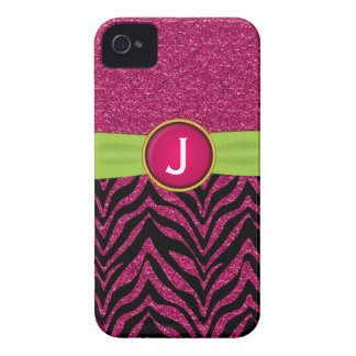Monogram Faux Ribbon Jewel Zebra Glitter Pattern iPhone 4 Case-Mate Cases
