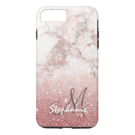 Monogram Faux Rose Gold Glitter White Marble Ombre