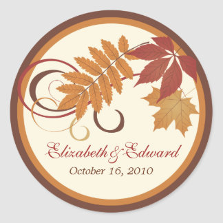 Monogram Favor Sticker | Autumn Fall Leaves