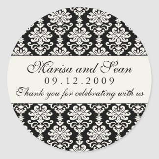 Monogram Favor Sticker | Black White Damask