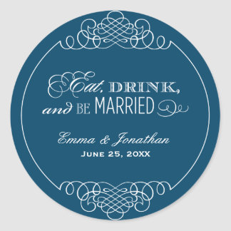 Monogram Favor Sticker | Eat. Drink & Be Married