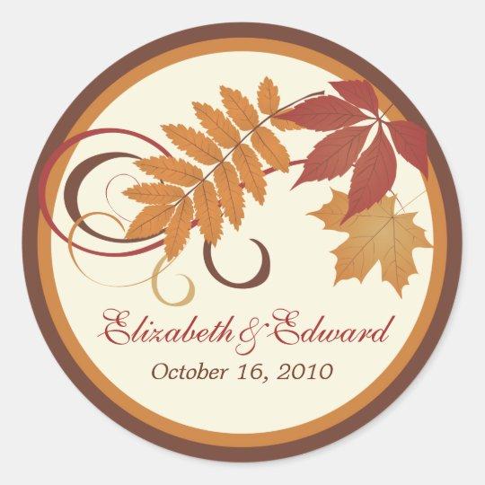 Monogram Favour Sticker | Autumn Fall Leaves