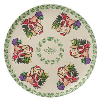 Monogram Festive Vintage Elephants Christmas Plate