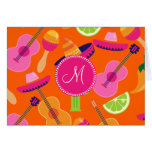 Monogram Fiesta Party Sombrero Cactus Limes Pepper Note Card