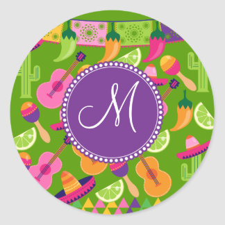 Monogram Fiesta Party Sombrero Cactus Limes Pepper Classic Round Sticker