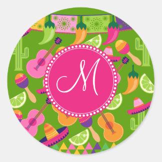 Monogram Fiesta Party Sombrero Cactus Limes Pepper Round Sticker