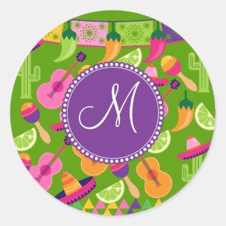 Monogram Fiesta Party Sombrero Cactus Limes Pepper Stickers